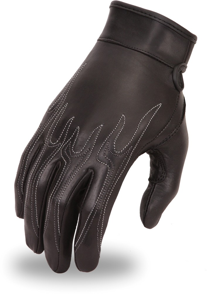 Gel Palm Cowhide Driving Glove with Embroidered Contrast Flame