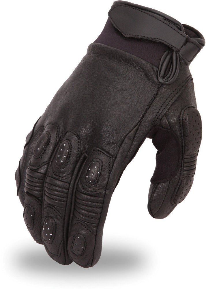 Leather Crossover Race Glove with Padded Fingers and Palm