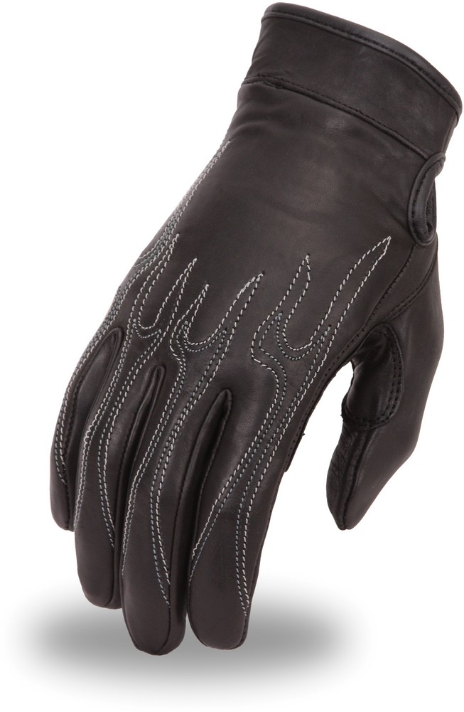 Driving Glove with Gel Palm and Contrast Embroidered Flame Design