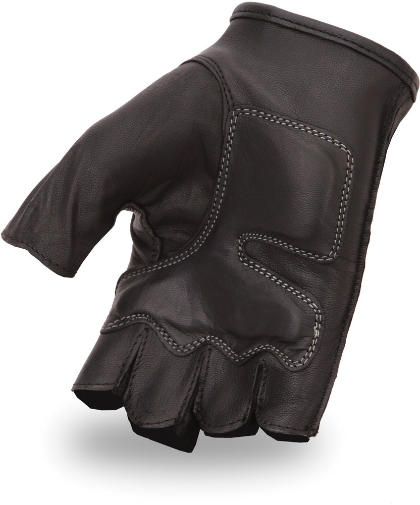 Goatskin Fingerless Glove with Embroidered Red Flame Motif