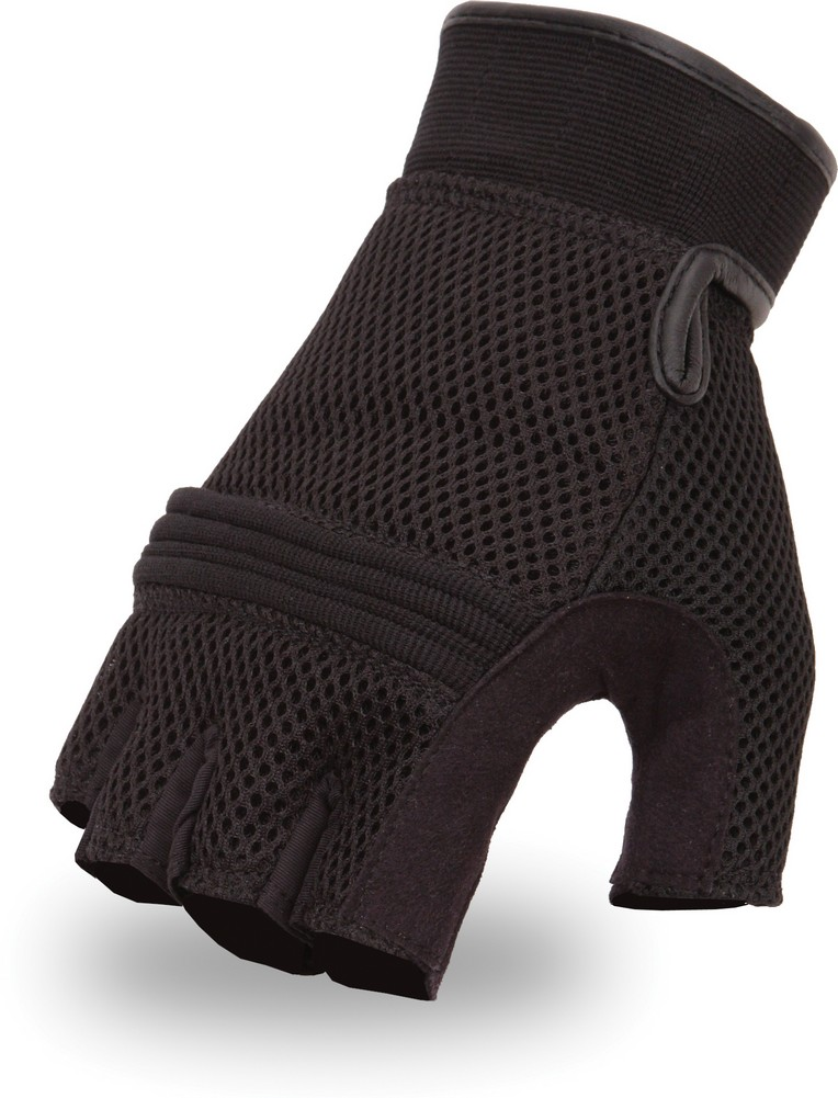 Leather and Mesh Fingerless Glove with Gel Palm