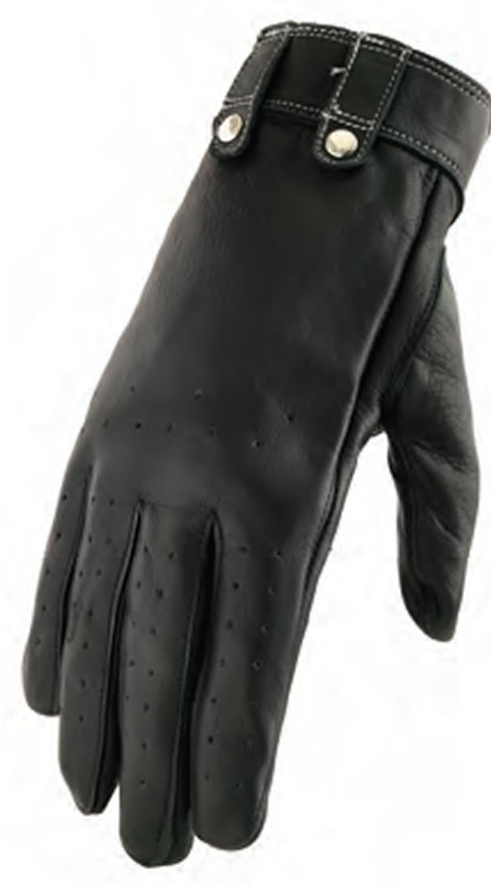 Riveted Glove with Perforated Design and Padded Palm