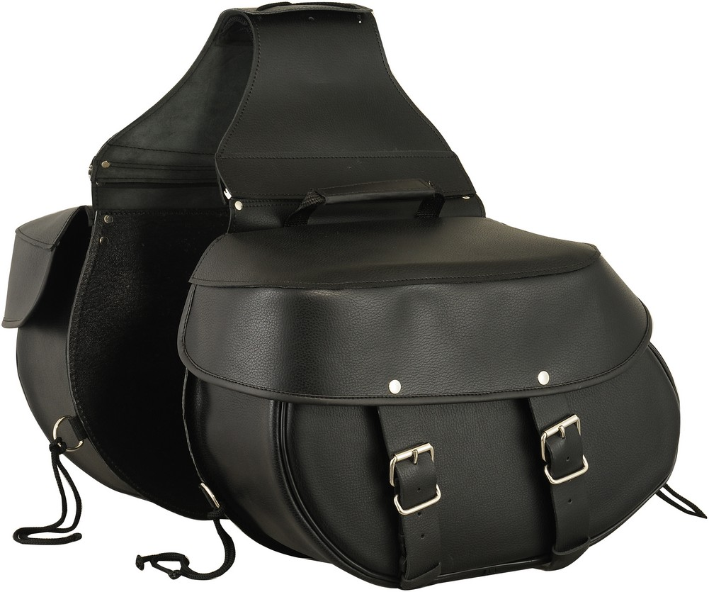 Large Leather Throw-Over Motorcycle Saddle Bags