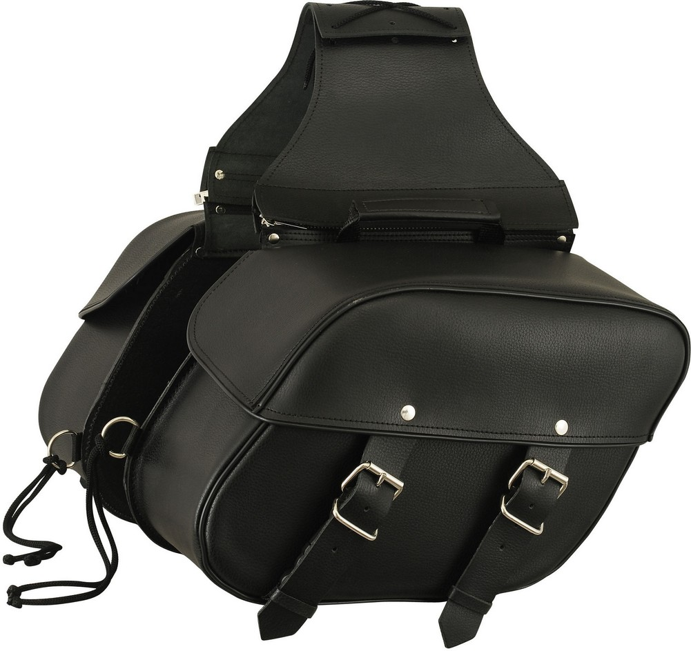 Leather Throw-Over Motorcycle Saddle Bags