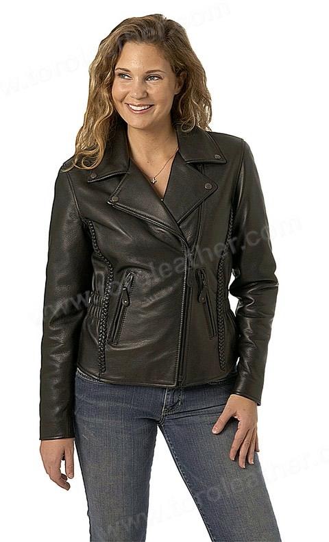 The Allure: Hourglass Cowhide Motorcycle Jacket - Black