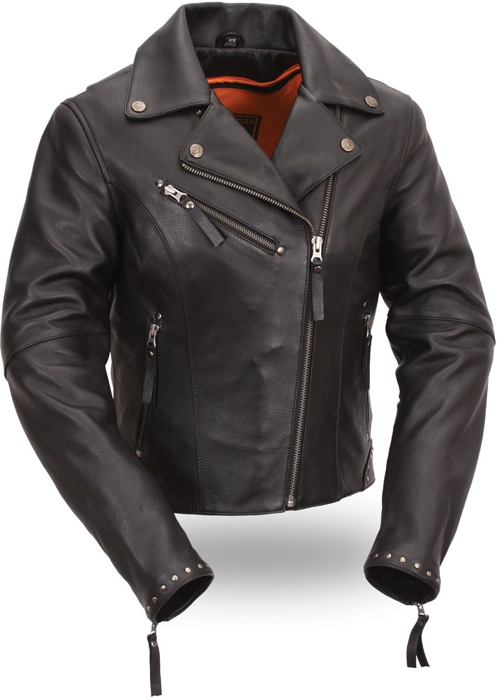 The Scarlett Star: Riveted Classic Naked Cowhide Motorcycle Jacket