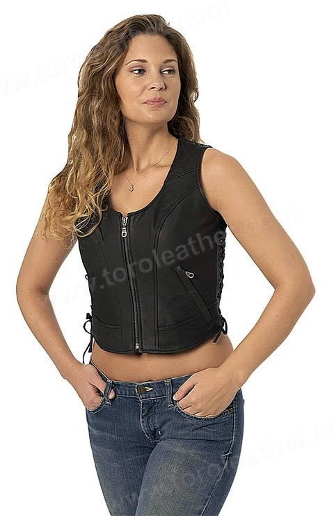 The Raven: Naked Cowhide Sidelaced Zip-Front Vest