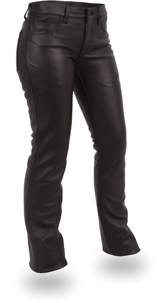 The Alexis Pant: 5-Pocket Low-Rise Leather Jeans