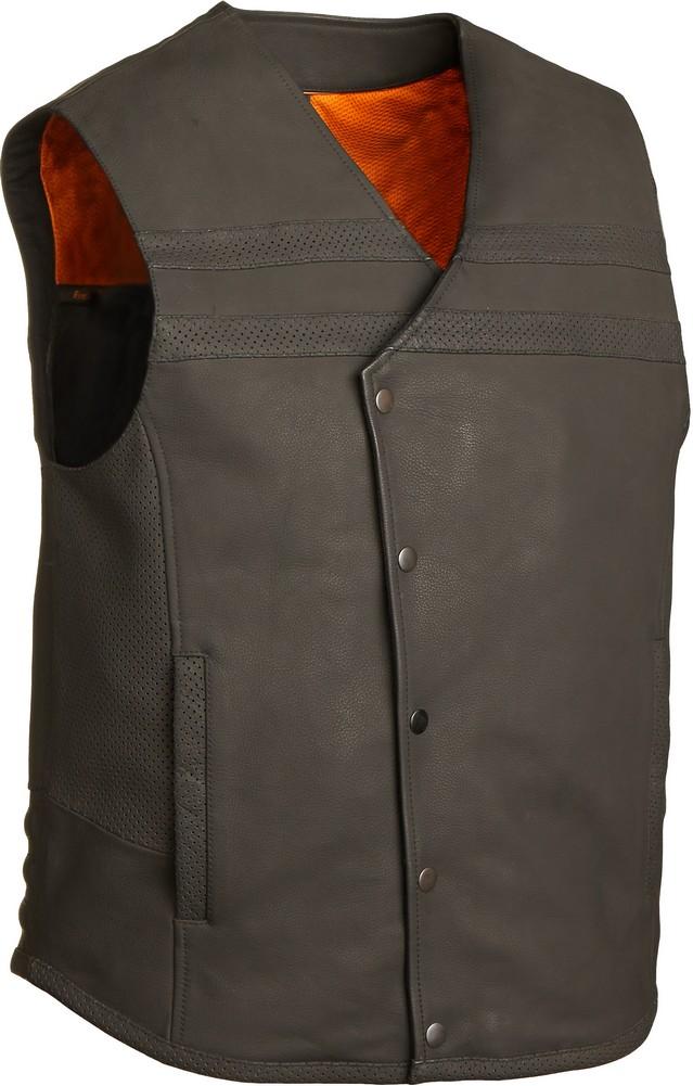 The Jaguar Vest: Matte Cowhide Single Panel Back Perforated Vest