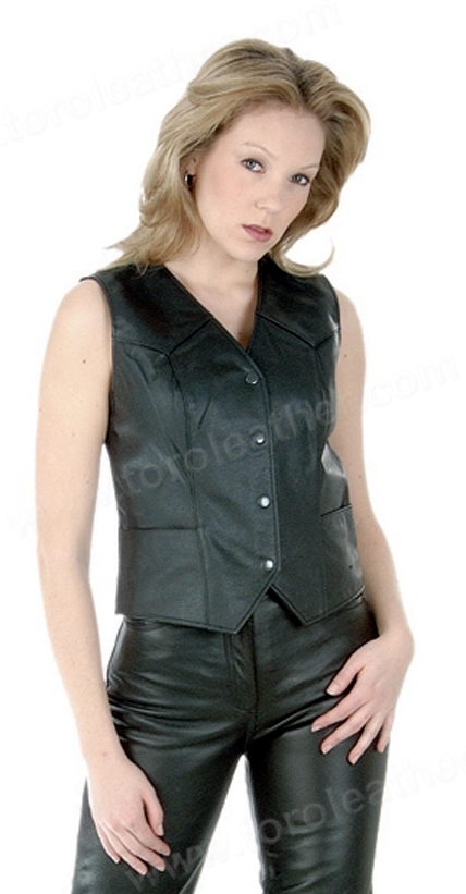 The Sweet Sienna: Fitted Snap Front Leather Vest