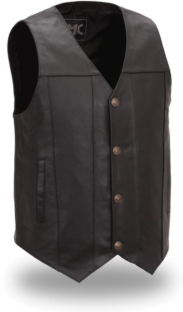 The Gun Runner: Single Panel Back Buffalo Snap Nickel Vest with Gun Pockets