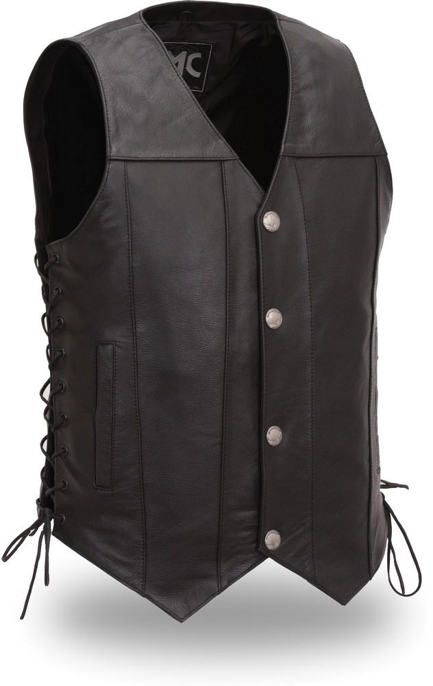 The Gun Slinger: Singel Panel Back Buffalo Snap Nickel Sidelaced Vest with Gun Pockets