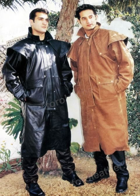 Leather Aussie Drover Duster Coat