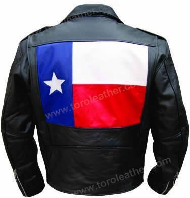 Buffalo Hide Motorcycle Jacket with Texas Flag Motif