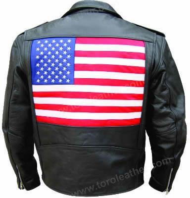 Buffalo Hide Motorcycle Jacket with USA Flag Motif