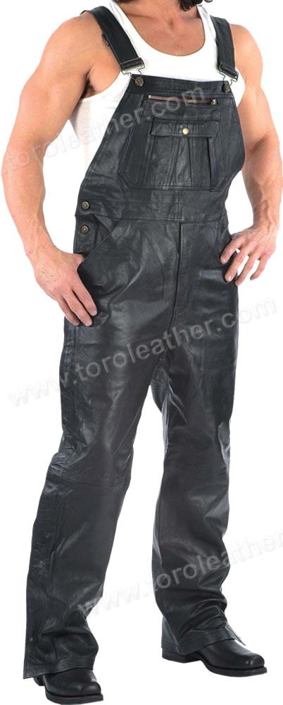 Cowhide Leather Machine Shop Bib Overalls - FREE WALLET !
