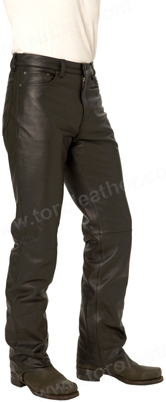 Men's 5-Pocket Cowhide Leather Jeans