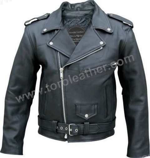 Naked Cowhide Motorcycle Jacket with Full-Sleeve Zip-Out Lining