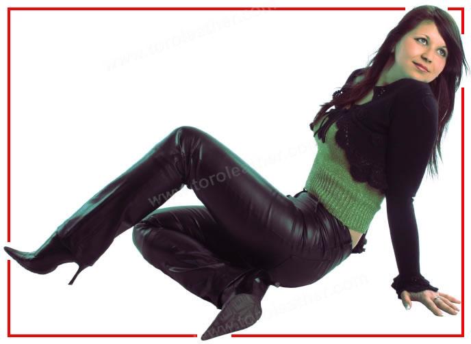 Women's 5-Pocket Cowhide Leather Jeans