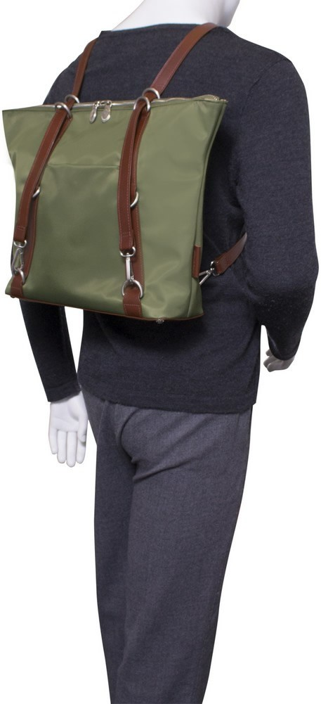 McKlein N-Series DYLAN - Nylon and Leather 3-in-1 Convertible Backpack Tote