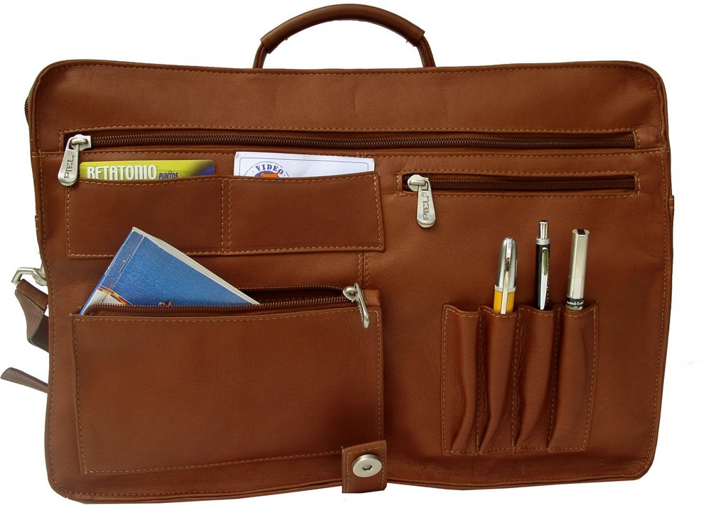 One Size 9165 Piel Leather Executive Briefcase Chocolate