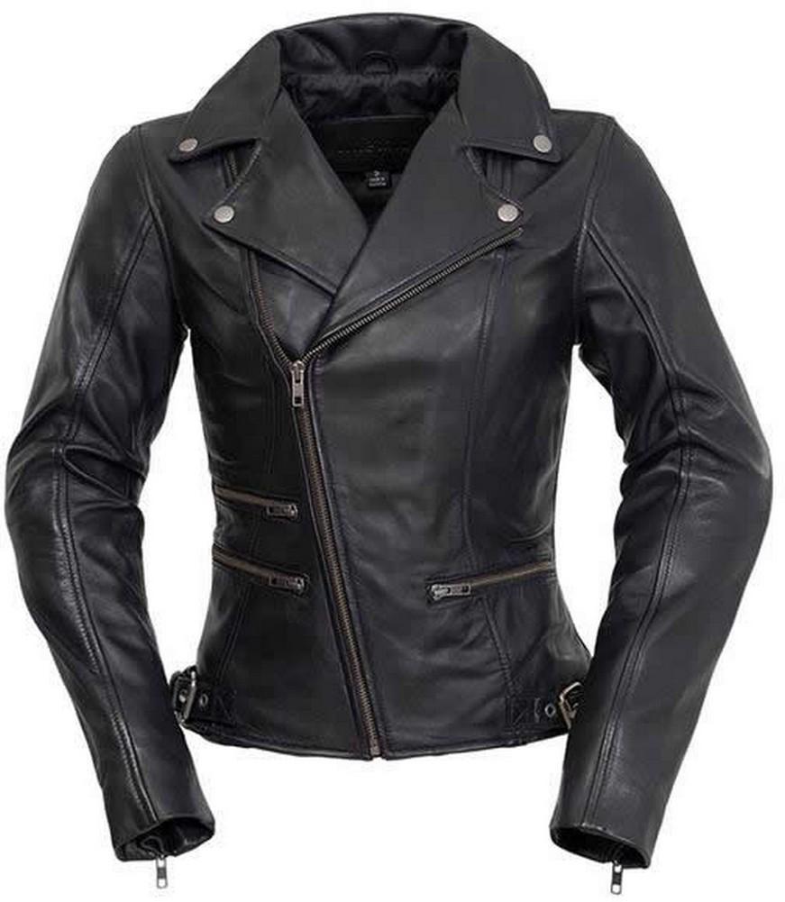 Whet-Blu CARLA - Womens' Motorcycle Style Leather Fashion Jacket - Black