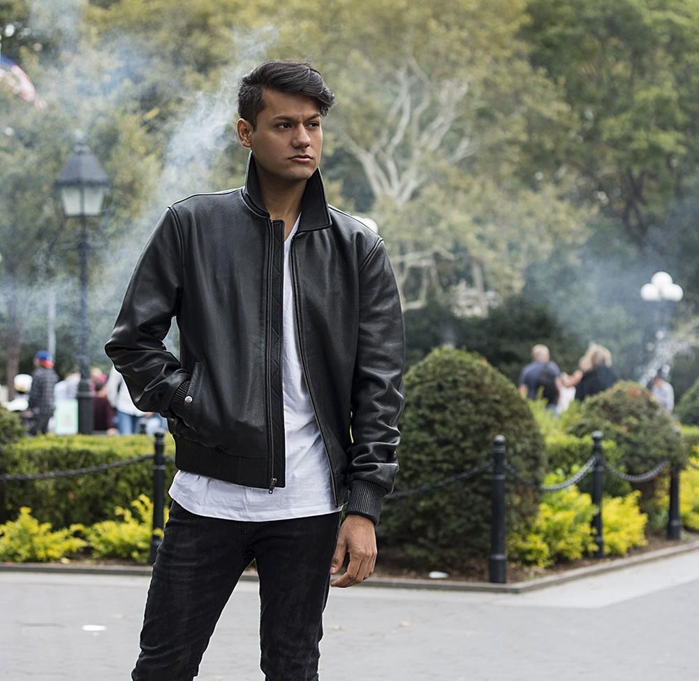 Whet-Blu CASTOR - Mens' Premium Cowhide Leather Bomber Jacket - Black