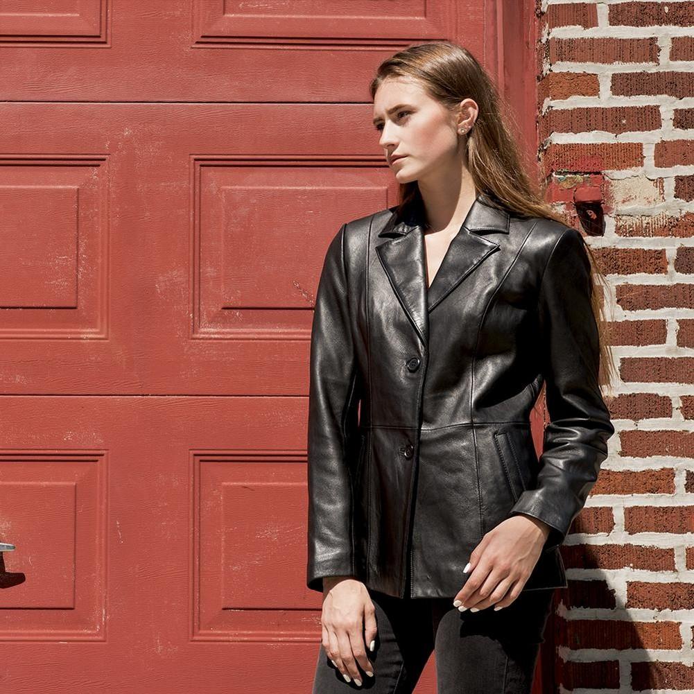 Whet-Blu DAHLIA - Womens' Mid-Length Two-Button Leather Blazer - Black