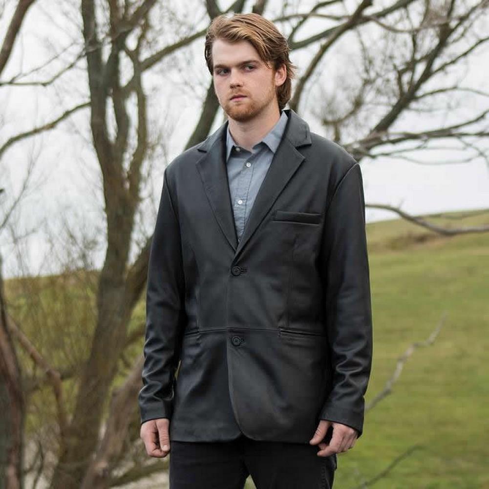 Whet-Blu ESQUIRE - Mens' Two-Button Leather Blazer - Black