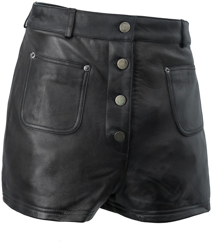 Whet-Blu - Womens' Button-Front Lambskin Leather Shorts - Black