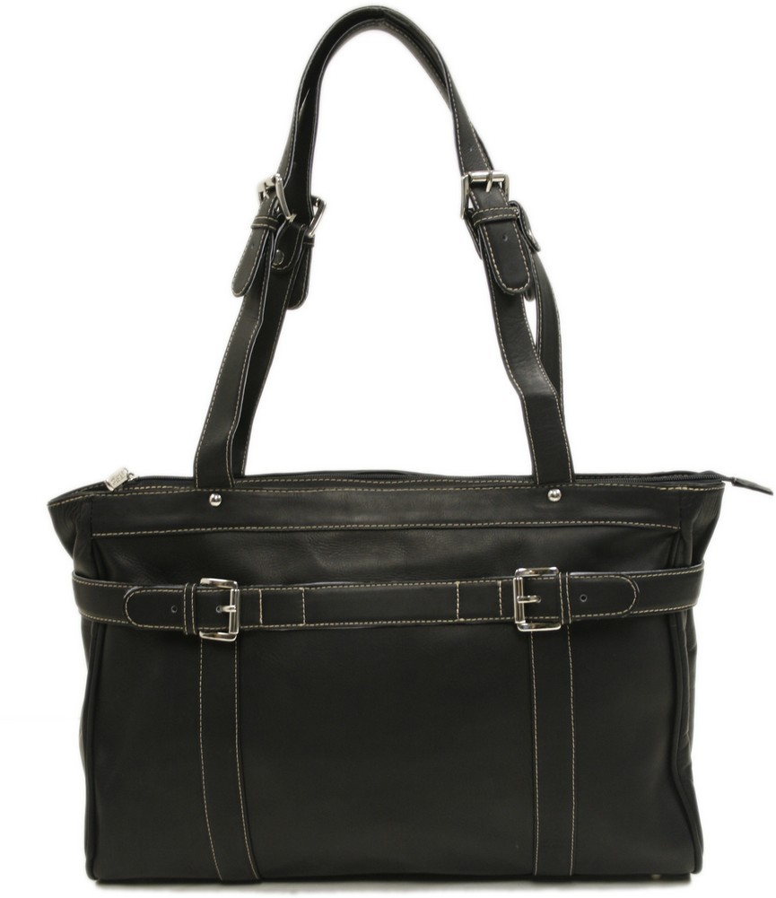 Piel Leather: Belted Computer Tote