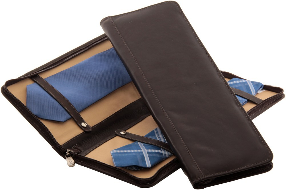 Piel Leather: Zippered Tie Case with Snaps