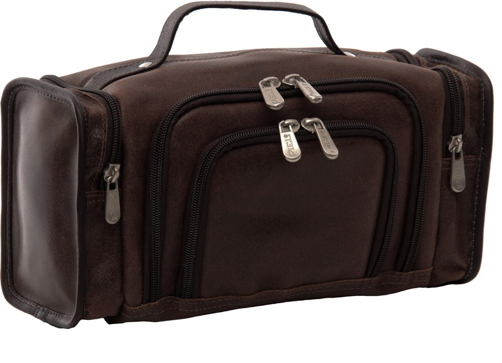 Piel Leather: Multi-Compartment Toiletry Kit